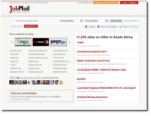 The New Job Mail Homepage